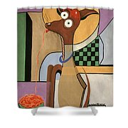 My Apple Head Chihuahua Shower Curtain by Anthony Falbo