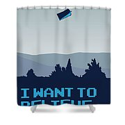 My I Want To Believe Minimal Poster- Tardis Shower Curtain by Chungkong Art
