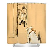 My Mistress Dressing Shower Curtain by Cecil Charles Windsor Aldin