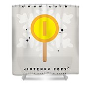 My Nintendo Ice Pop - Gold Coin Shower Curtain by Chungkong Art