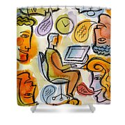 My Office Shower Curtain by Leon Zernitsky
