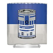 My Star Warhols R2d2 Minimal Can Poster Shower Curtain by Chungkong Art
