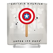 My Superhero Ice Pop - Captain America Shower Curtain by Chungkong Art