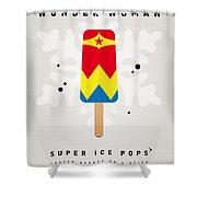 My Superhero Ice Pop - Wonder Woman Shower Curtain by Chungkong Art