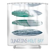 My Surfspots poster-4-Dungeons-Cape-Town-South-Africa Shower Curtain by Chungkong Art