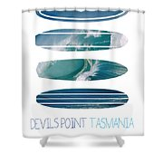 My Surfspots poster-5-Devils-Point-Tasmania Shower Curtain by Chungkong Art