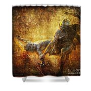 Nailed To The Cross Via Dolorosa 11 Shower Curtain by Lianne Schneider