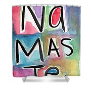 Namaste Watercolor Shower Curtain by Linda Woods