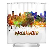 Nashville Skyline In Watercolor Shower Curtain by Pablo Romero