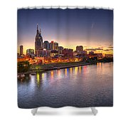 Nashville Skyline Panorama Shower Curtain by Brett Engle