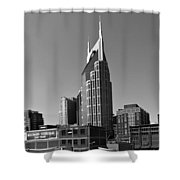 Nashville Tennessee Skyline Black And White Shower Curtain by Dan Sproul