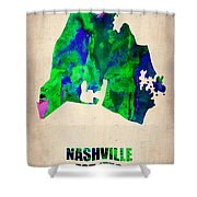 Nashville Watercolor Map Shower Curtain by Naxart Studio