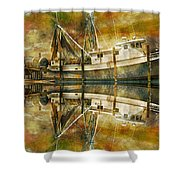 Nautical Timepiece Shower Curtain by Betsy C  Knapp