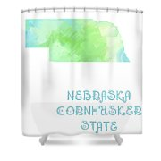 Nebraska - Cornhusker State - Map - State Phrase - Geology Shower Curtain by Andee Design