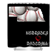 Nebraska Loves Baseball Shower Curtain by Andee Design