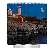 Neddick Lighthouse Shower Curtain by Susan Candelario