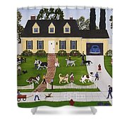 Neighborhood Dog Show Shower Curtain by Linda Mears