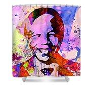 Nelson Mandela Watercolor Shower Curtain by Naxart Studio