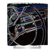 Neon 1957 Chevy Dash Shower Curtain by Steve McKinzie