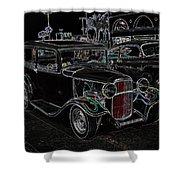Neon Car Show Shower Curtain by Steve McKinzie
