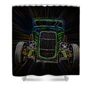 Neon Deuce Coupe Shower Curtain by Steve McKinzie