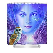 New Age Owl Girl Shower Curtain by Andrew Farley