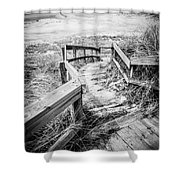 New Buffalo Michigan Boardwalk And Beach Shower Curtain by Paul Velgos
