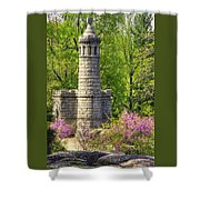 New York At Gettysburg - Monument To 12th / 44th Ny Infantry Regiments-2a Little Round Top Spring Shower Curtain by Michael Mazaika