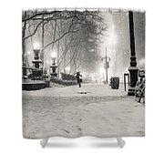 New York City Winter Night Shower Curtain by Vivienne Gucwa