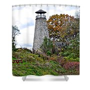 New York Lighthouse Shower Curtain by Frozen in Time Fine Art Photography