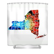 New York - Map By Sharon Cummings Shower Curtain by Sharon Cummings