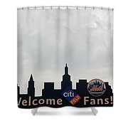 New York Mets Skyline Shower Curtain by Rob Hans