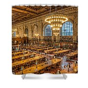 New York Public Library Main Reading Room Ix Shower Curtain by Clarence Holmes