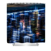 New York - The Night Awakes - Blue I Shower Curtain by Hannes Cmarits