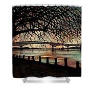 Newburgh Beacon Bridge Sunset Shower Curtain by Janine Riley