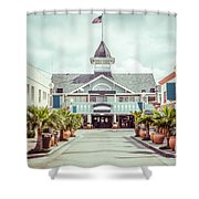 Newport Beach Balboa Main Street Vintage Picture Shower Curtain by Paul Velgos