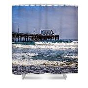 Newport Beach Pier In Orange County California Shower Curtain by Paul Velgos