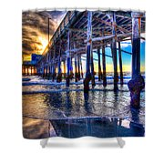 Newport Beach Pier - Low Tide Shower Curtain by Jim Carrell