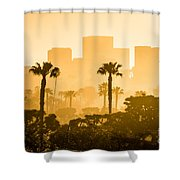 Newport Beach Skyline Morning Sunrise Picture Shower Curtain by Paul Velgos