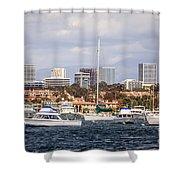 Newport Beach Skyline  Shower Curtain by Paul Velgos