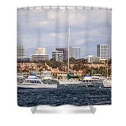 Newport Beach Skyline  Shower Curtain by Paul Velgos