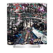 Night Crossover Shower Curtain by Mary Clanahan