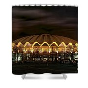 night WVU basketball Coliseum arena in Shower Curtain by Dan Friend
