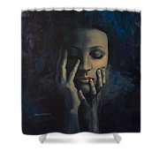 Nights In July Shower Curtain by Dorina  Costras