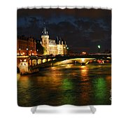 Nighttime Paris Shower Curtain by Elena Elisseeva