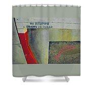 No Dumping - Drains To Ocean No 2 Shower Curtain by Ben and Raisa Gertsberg