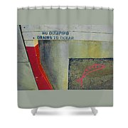 No Dumping - Drains To Ocean No 2 Shower Curtain by Ben and Raisa Gertsberg