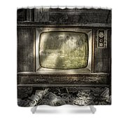 No One's Watching - Vintage Television in an old barn Shower Curtain by Gary Heller
