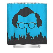 No146 My Manhattan Minimal Movie Poster Shower Curtain by Chungkong Art