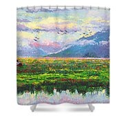 Nomad - Alaska Landscape With Joe Redington's Boat In Knik Alaska Shower Curtain by Talya Johnson